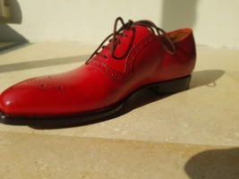 Handmade Red Heart Medallion Lace up Dress/Formal Oxford Shoes For Men image 4