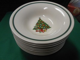 """Outstanding MOUNT CLEMENS Pottery""""Christmas"""" Theme-  8 SOUP BOWLS - $57.01"""