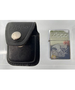 Rare Zippo Lighter With Etched Eagle-in Heavy Leather Zippo Belt Clip Case - $45.49