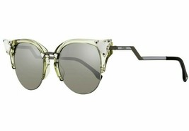 FENDI IRIDIA FF 0042/S 9HESS Ruthenium Grey Cat Eye Crystal-Tip Sunglasses - $223.17