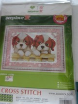 Cross Stitch Needlepoint Chinese Instructions Deep Love Spaniel Puppies New - $29.95