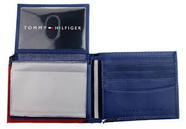 Tommy Hilfiger Men's Leather Wallet Passcase Billfold Red Navy 31TL22X051 image 8