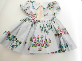 Vintage Light Blue Dress w/Ruffle for Medium Size Doll - $22.00