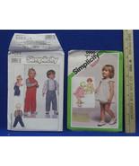 2 Vintage Toddler Simplicity Sewing Patterns Romper Sundress Bloomers Vest Pants - $9.89