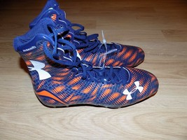 Size 11.5 Under Armour Clutch Fit Highlight Football Cleats Shoes Orange Navy  - $48.00
