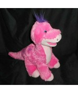 BUILD A BEAR PINK DINOSAUR BRONTOSAURUS PURPLE HAIR STUFFED ANIMAL PLUSH... - $28.05