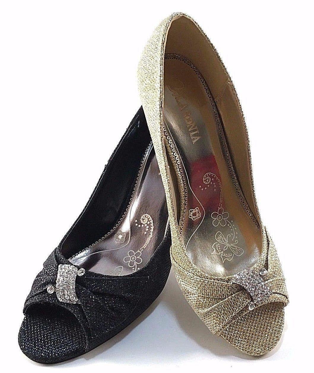 gold glitter mid heels