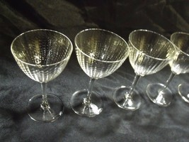 """9 DELICATE 5 1/4"""" CRYSTAL BLOWN GLASS RING STEM PANELLED BOWL WINEGLASSES - $54.45"""