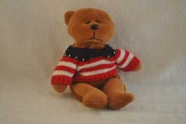 9 Inch Plushland Teddy Bear wity Stars and Stripes Sweater - $10.39