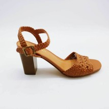 Nine West Womens Heeled Sandals Brown Woven Tinsley2 Cutout Block Heel Buckle 8M - $17.16