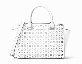 New Michael Kors Selma Medium Top Zip Perforated Leather Satchel White N... - $197.01