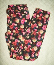 Justice Girls Pants Size 14 Simply Low Super Skinny Black Floral Stretch... - $21.77