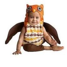 Owl Brown Orange Hooded Plush Vest Wings & Pants Halloween Costume-sz 0/... - $19.80