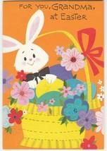 Vintage Easter Card Bunny Basket of Eggs Glitter 1964 American Greetings... - $8.90