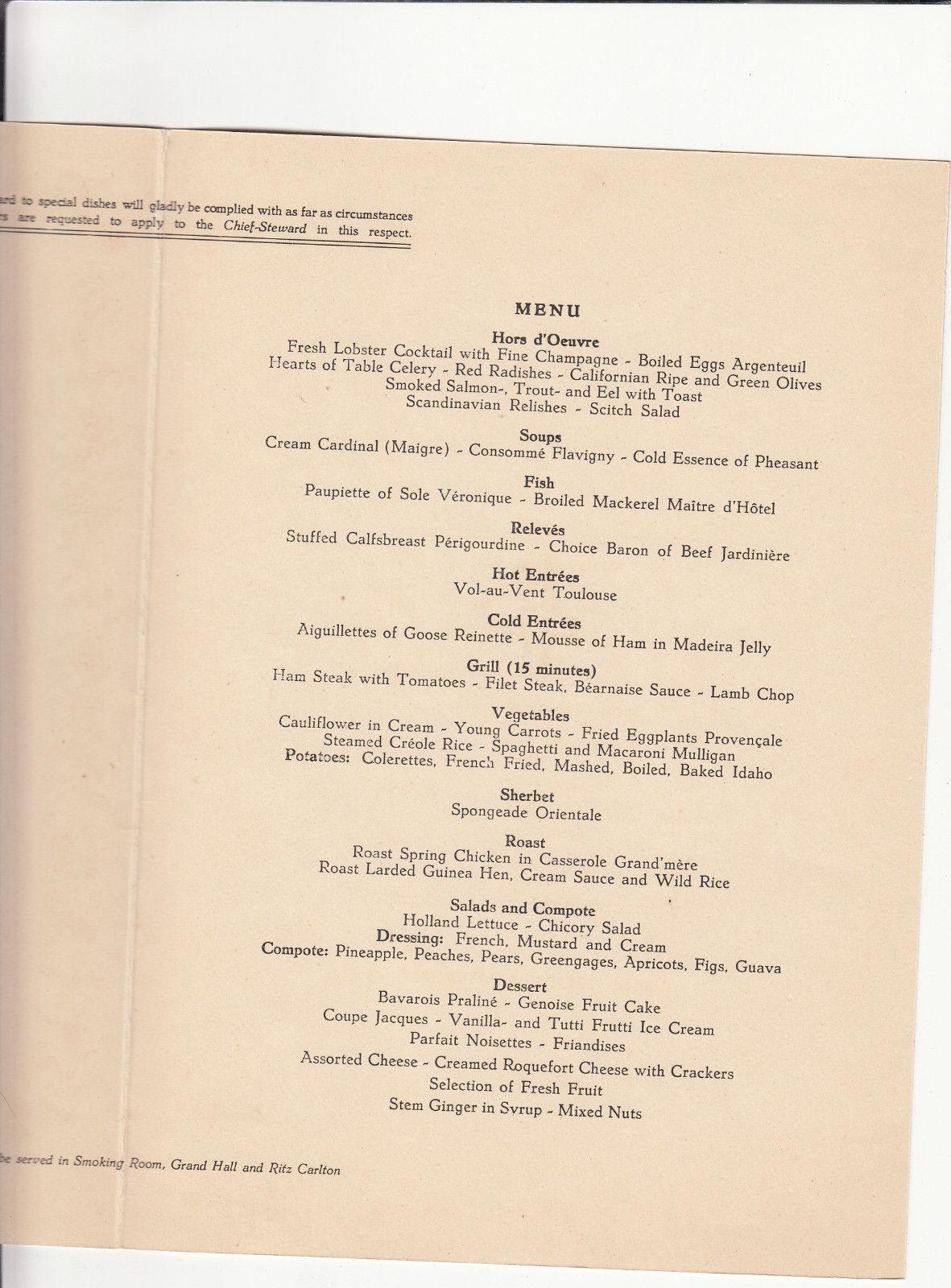 VINTAGE  MENU HOLLAND AMERICA LINE RMS Nieuw Amsterdam Zeeland 1950
