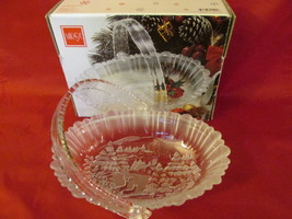 Mikasa Winter Dreams Christmas Glass Bowl / Basket, Original Box - Disc. 2006 - $9.99