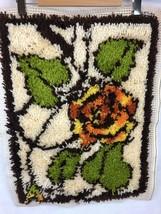 "Latch Hook Rug 18"" X 24"" Wall Hanging Boho VTG Hippy 70s Shag Floral Ros... - $42.56"