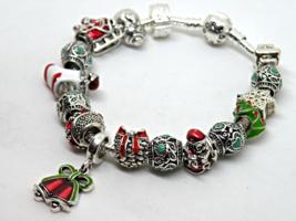 Christmas Bells European Murano Beaded Bracelet. Gift bag included - $19.95
