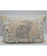 """Easter Bunny Rabbit Beaded Floral Throw Pillow Home Decor 14 x 22"""" NEW - $44.54"""
