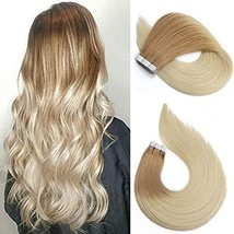 Tape In Hair Extensions Human Hair Balayage Ombre Hair 50g Per Set Golden Brown