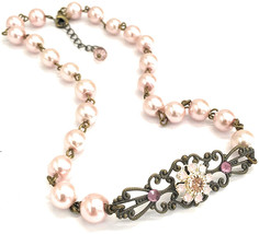 HisJewelsCreations Vintage Inspired Pink Simulated Pearl Filigree Choker... - $113.97