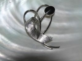 Vintage Sterling Silver Marked Abstract Heart Ribbon with Black Oval Cab... - $13.99