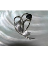 Vintage Sterling Silver Marked Abstract Heart Ribbon with Black Oval Cab Pin  - $13.99