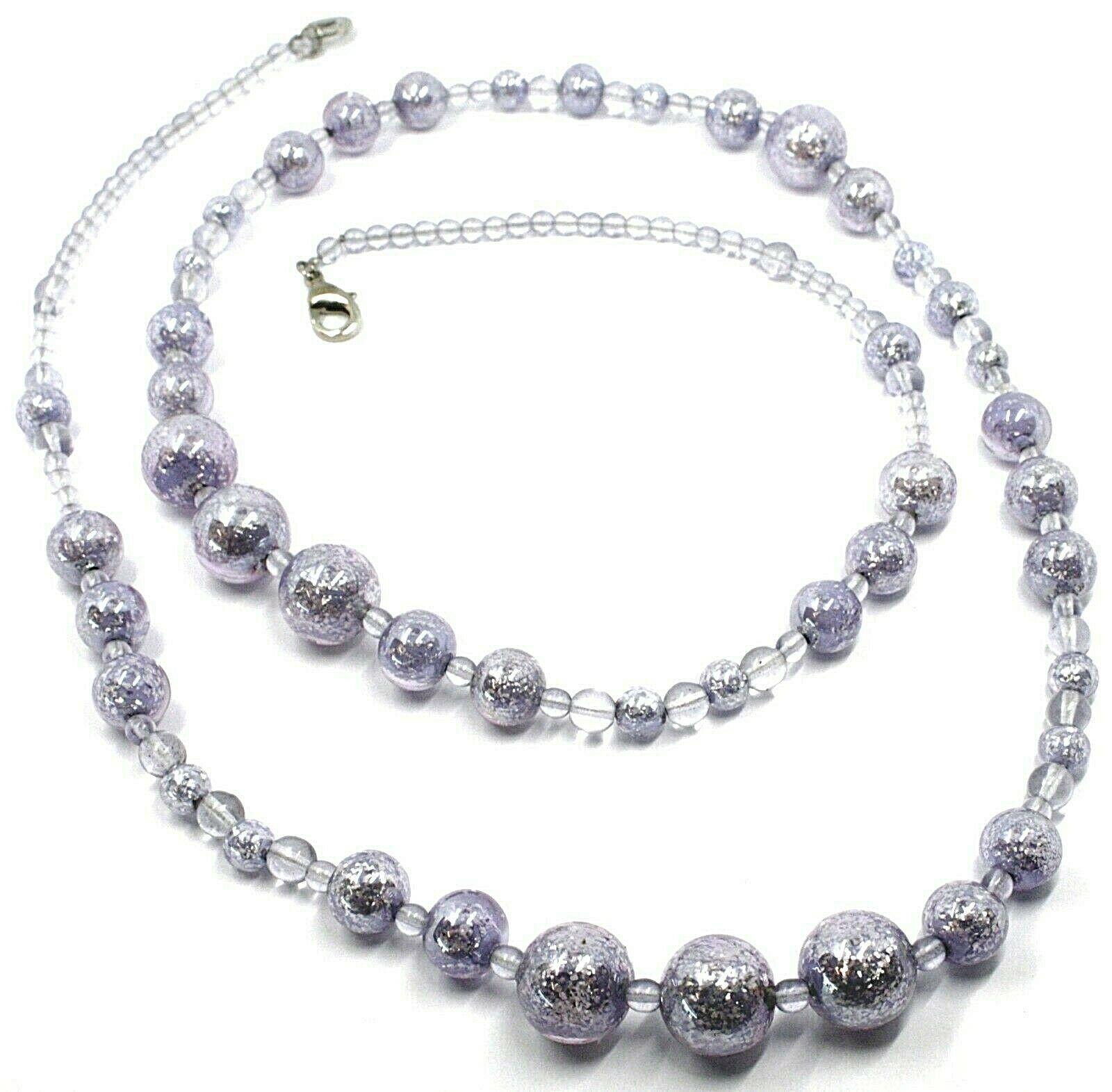 Necklace Antica Murrina Venezia,CO971A04,Spheres Purple,Length 35 3/8in