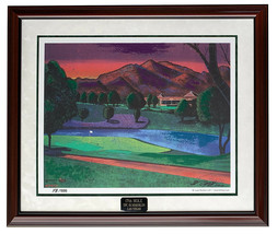 Bill Lopa Signed Framed 33x39 Embellished LE 17th Hole Lithograph - $396.98