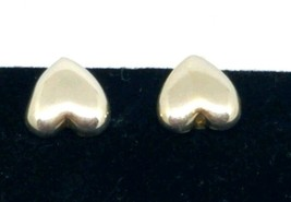 Vintage Clip On Earrings Puffy Heart Silver Toned Small - $9.89