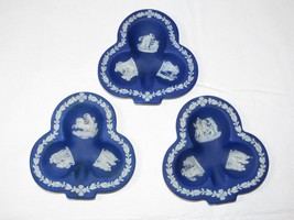 Wedgewood Blue Jasperware Clover Shaped Trinket Dish Plate Vintage Set o... - $26.72