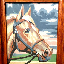 Vintage Paint by Number Bridled Horse Head Animal Portrait Painting Mid ... - $41.58