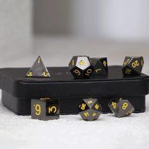 Gun Metal Polyhedral Dice Series: Yellow Numbering - 7 Piece Set With Di... - $44.00