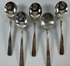 Vintage ONEIDA Community AA Silverplate LADY DRAKE  5 Gumbo Soup Spoons - $19.79
