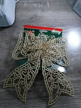 (1) Christmas House Gold Glittery Bow Ornament Decoration. New - $9.85