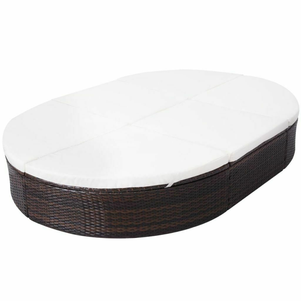 """vidaXL Sunlounger with Cushion Poly Rattan 78.7"""" Lounge Beds Seat Black/Brown image 6"""