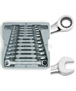 Stubby Wrench Set Metric Ratcheting Combination 12 Piece Gear Wrenches 8... - $80.49