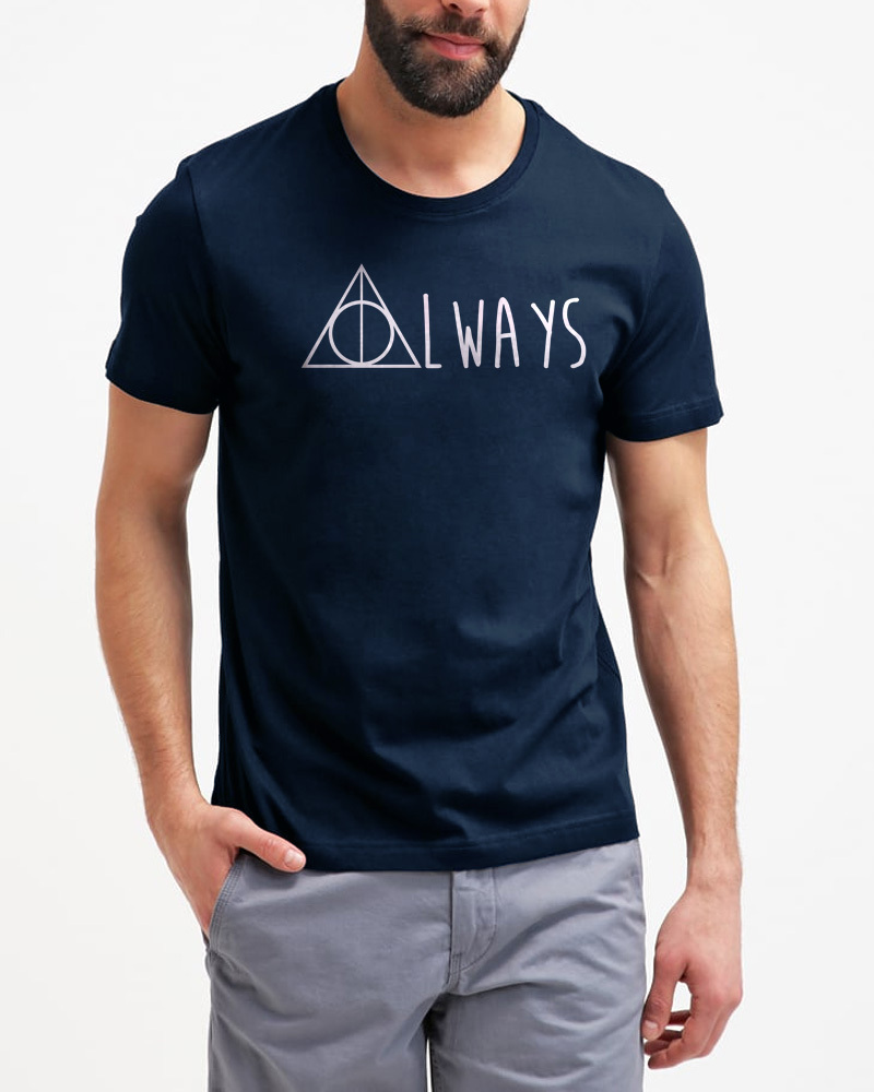 Always Deathly Hallows Inspired Harry Potter Men Black T-Shirt
