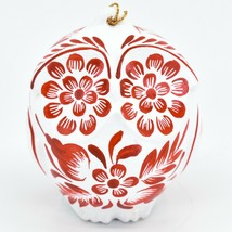 Handcrafted Ceramic Red on White Owl Holiday Christmas Ornament Made in ... - $19.79