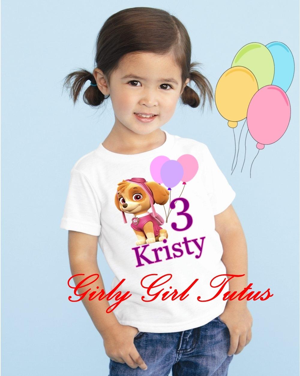 Girls Paw Patrol Skye Birthday T Shirts Online For