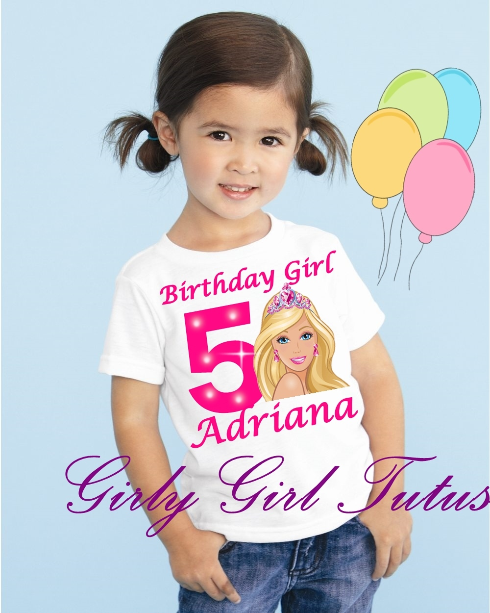 Girls Pink Barbie Birthday T Shirt Online And 35 Similar Items