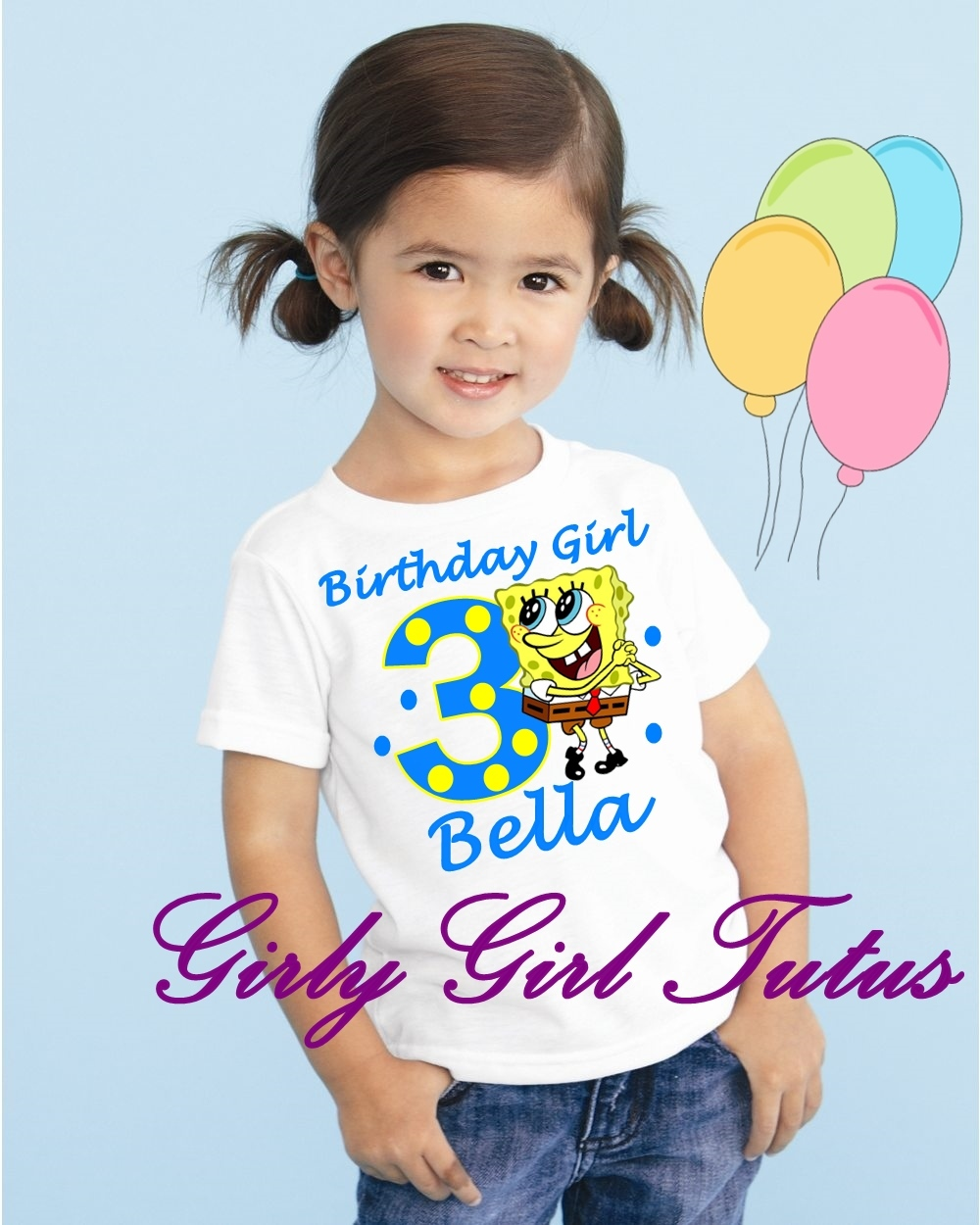 Girls Blue Yellow Spongebob Birthday T Shirt Online Shirts For