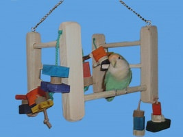 SWINGING PLAY GYM-SMALL BIRDS-DOWEL-BIRD TOYS - £12.36 GBP