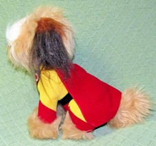 "10"" Vintage Dakin Mighty Dog Carnation 1984 Plush Stuffed Red Cape Brown Tan Toy - $18.70"