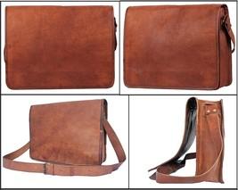 Vintage Leather Big Tote Men Briefcase 16'' Laptop Case Messenger Shoulder Bag - $37.12+
