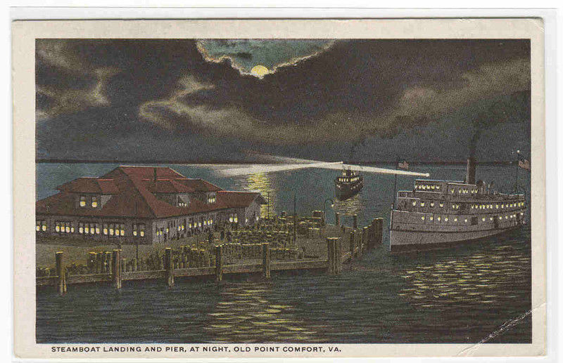 Steamer Landing Pier Night Old Point Comfort VA postcard