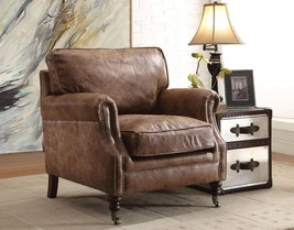 Acme 96675 Dundee Retro Brown Genuine Leather Accent Chair  w/End Table ... - $1,707.00