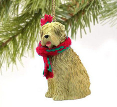 WHEATEN TERRIER DOG CHRISTMAS ORNAMENT HOLIDAY Figurine Scarf Gift - $9.50