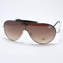 SPORTY Shield Aviator Sunglasses GOLD Metal Black New - $9.26
