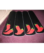 CUSTOM RED HOT CHILI PEPPER CEILING FAN WITH LIGHT KIT ~ L@@K! SPICY BLACK BLADE - $99.99